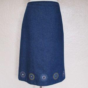 Vanessa Bruno Athe Skirt blue denim embroidered